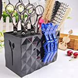 Olpchee Professional Large Capacity Acylic Salon Scissors Holder Box Hairdressing Combs Clips Organizer Racks (Black)