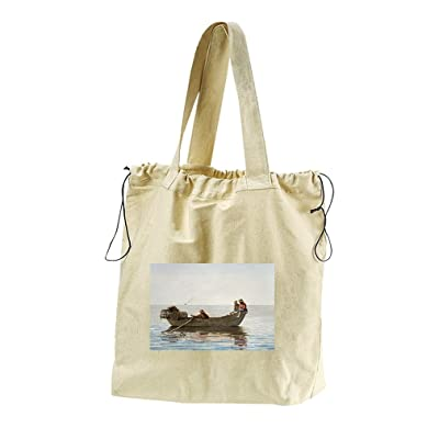3 Boys In Dory With Lobster Pots (Homer) Canvas Drawstring Beach Tote Bag
