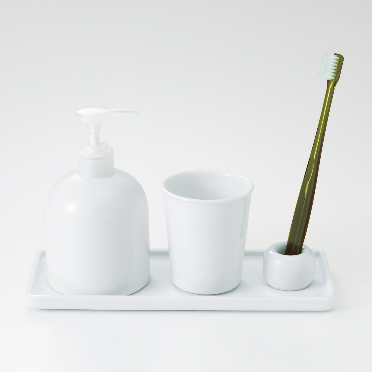 MUJI White Porcelain - Tray,Soap Dispenser,Cup,Tooth Brush Stand - Set