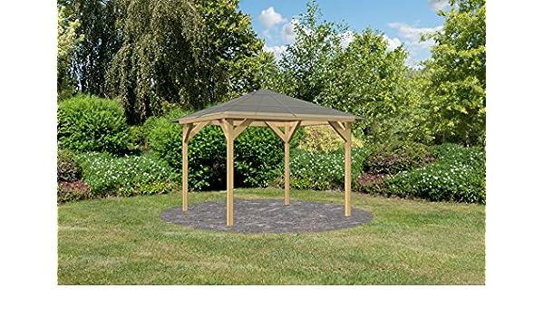 Karibu 73086 - Cenador con 8 postes de madera laminada de 8 x 8 cm, resistente a los rayos UV, de policarbonato de 6 mm, con placas de doble puente de madera laminada: Amazon.es: Jardín