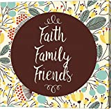 Faith Family Friends Retro Floral White by Color Me Happy Canvas Art Wall Picture, Gallery Wrap, 37 x 37 inches