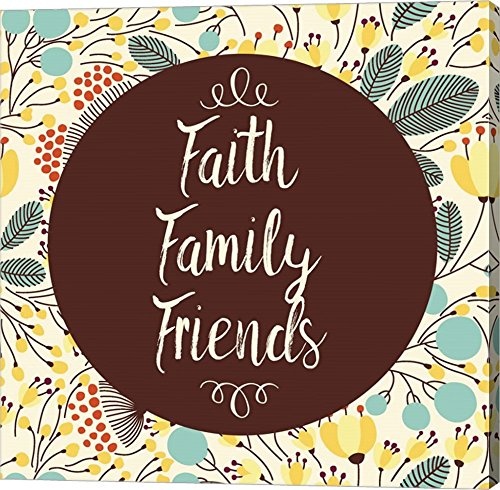 Faith Family Friends Retro Floral White by Color Me Happy Canvas Art Wall Picture, Gallery Wrap, 37 x 37 inches by Great Art Now