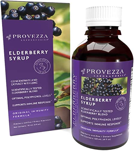 Premium Elderberry Syrup with Zinc – by Provezza Laboratories for Advanced Immune Support, Black Sambucus with Antioxidants for Kids and Adults, Daily Herbal Supplement, Vegetarian 4.0 Ounces