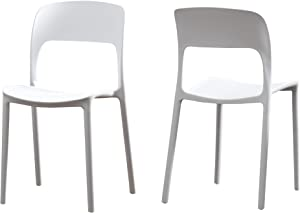 Christopher Knight Home 306515 Dean Outdoor Plastic Chairs (Set of 2), White