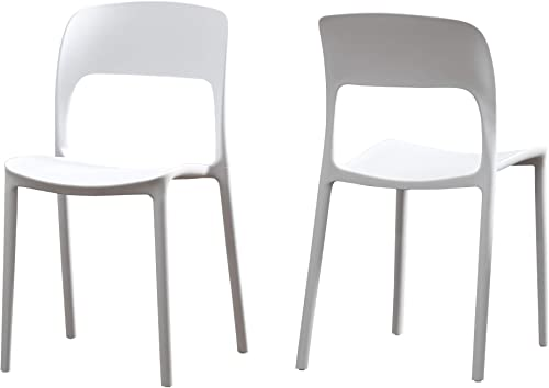 Christopher Knight Home 306515 Dean Outdoor Plastic Chairs Set of 2 , White