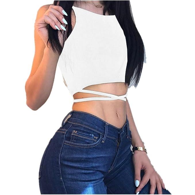 Tops de Las Mujeres, Lananas 2018 Verano sin Mangas Sexy Vendaje Corbata Blusa