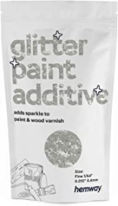 "Hemway Glitter Paint Additive FINE 1/64"" 0.4mm Emulsion/Acrylic Water Based Paints Wall Ceiling 100g / 3.5oz (Crystal Diamond Crystal Diamond White)"