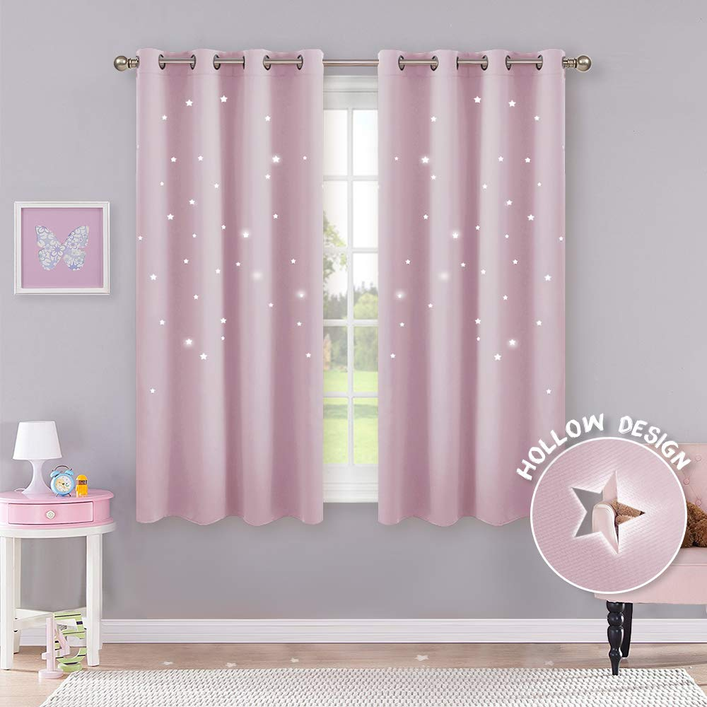 PONY DANCE Pink Curtain for Girls - Bedroom Curtains with Eyelet Top for  Room Darkening Short Thermal insulated Window Treatment for Energy Saving,  2 ...