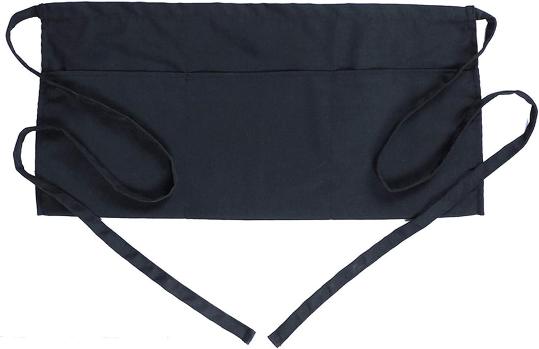 BOHARERS Waist Apron with 3 Pockets 20 Pack - Black Waitress Server Short Apron