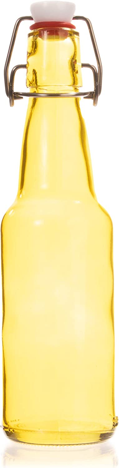 11 oz. Yellow Glass Grolsch Beer Bottle, Quart Size - Airtight Seal with Swing Top/Flip Top - Supplies for Home Brewing & Fermenting of Alcohol, Kombucha Tea, Wine, Homemade Soda (Single)