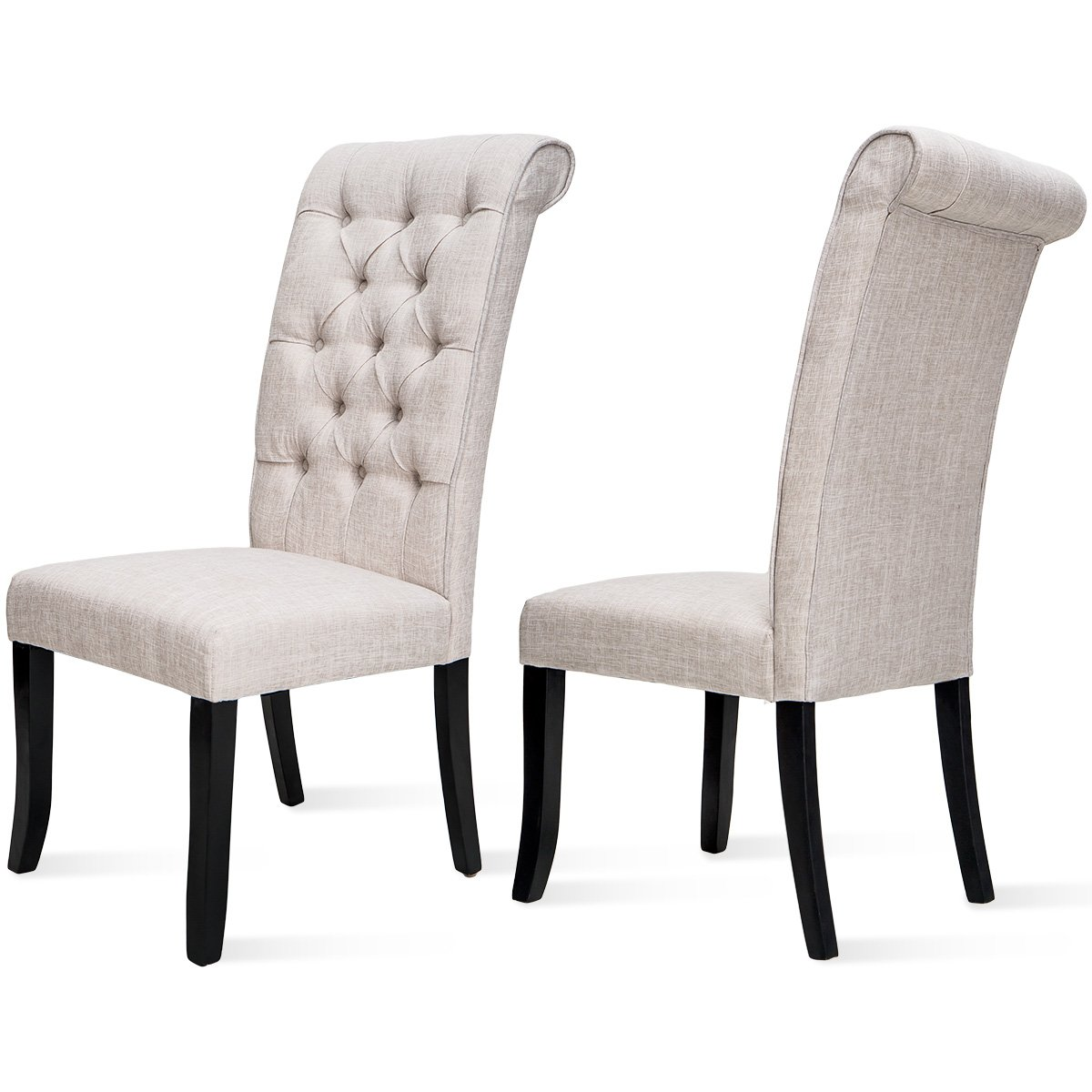 Merax Fabric Dining Chairs, Set of 2 Leisure Padded Tufted Parsons Armless Chair with Solid Wood Legs, Beige