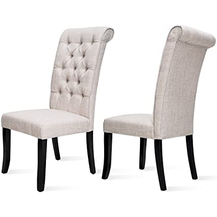 Harperu0026Bright Design Tufted Arm Dining Accent Chair, Set Of 2 (Beige)