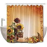 LB Rustic Sunflower Fall Thanksgiving Stall Shower Curtain, Autumn Country Farm Pumpkin Background Harvest Bathroom…