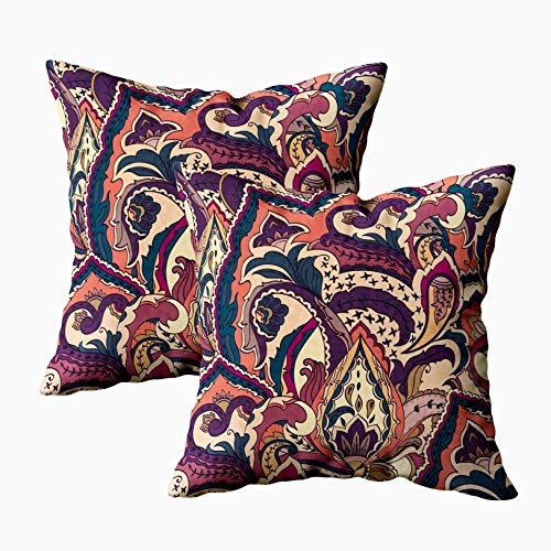 Shorping Jacquard Yellow Pillow, Zippered Pillowcases 18X18Inch 2 Pack Throw Pillow Covers Pattern Colored Textile for Home Sofa