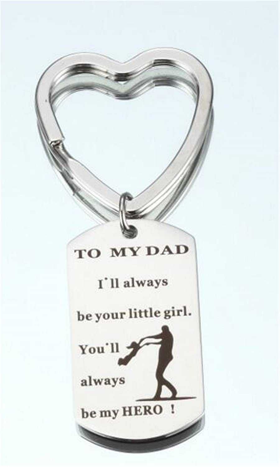 Tmrow 1pc Father's Day Gifts To my Dad I'll Always Be Your Little Girl You'll Always Be My Hero Keychain Ring,Circle