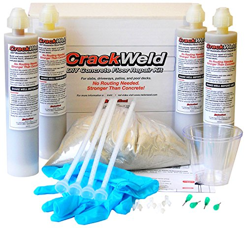 CrackWeld DIY Concrete Floor Repair Kit 4Pack  Repair Concrete Cracks in Basements Driveways Garages Patios Pool Decks