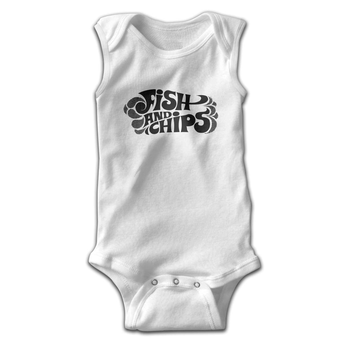 Dfenere Fish and Chip Newborn Baby No Sleeve Bodysuit Romper Infant Summer Clothing White