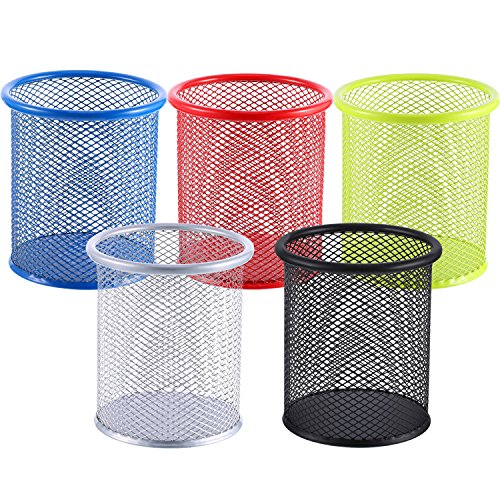 - 5 Pieces Metal Mesh Pen Holder Pencil Cup Holder Pen Organizer Pencil Holder for Desk Office and School, 5 Colors