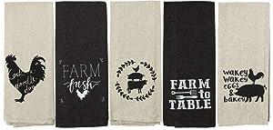 Farmhouse Kitchen Towels Flour Sack Cotton Black/Tan Set of 5