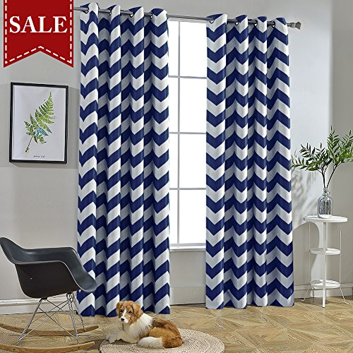 Melodieux Chevron Room Darkening Blackout Grommet Top Curtains, 52 by 63 Inch, Navy (1 Panel)]()