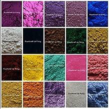Lot of 20 1g Gram SAMPLE MICA MATTE Soap Making Pigment WHITE Titanium Dioxide Oxide Lavender Violet Pink Blue Green Teal Yellow Brown Purple Sparkle Ultramarine Shimmer Pigment Powder