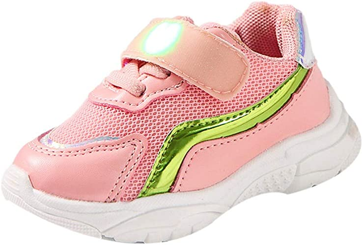 XUANOU Boys Girls Breathable Lightweight Running Shoes Pink