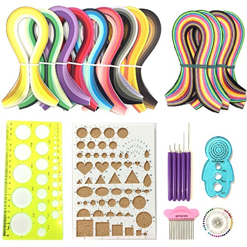 Anndason 23 in 1 Paper Quilling Set & 36 Colors 900 Strips (Gradient color) + 36 Colors 720 Strips (Mix and bright) and 10 tools Quilling DIY & Paper Width 3mm by Anndason