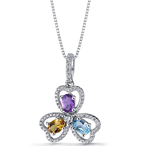 Peora College Graduation Necklace for Her, Sterling Silver Trinity Pendant, Natural Gemstones, 18 inch Chain