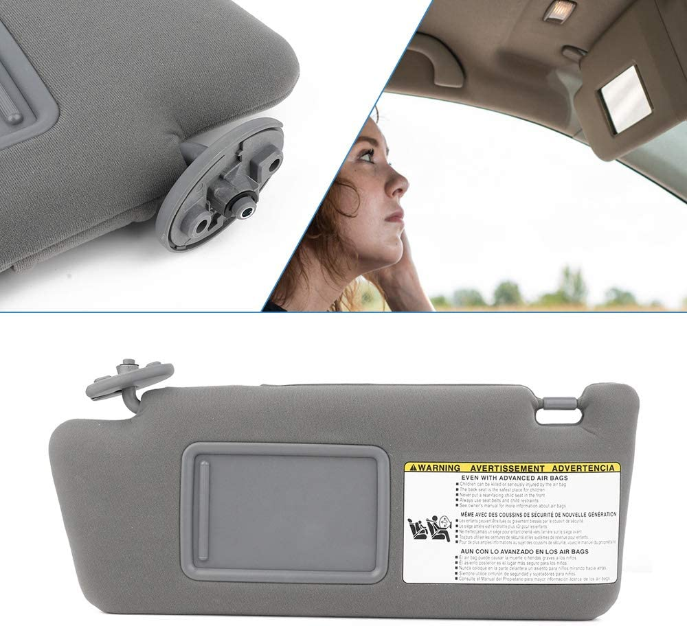 74320-33B81-B0 Gray//No Sunroof 74320-06780-B0 SouthWit Driverside Sun Visor for 2007 2008 2009 2010 2011 Toyota Camry//Hybrid Sunvisor Replacement