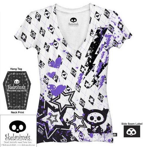 skelanimals-animal-argyle-juniors-white-tee-t-shirt-medium