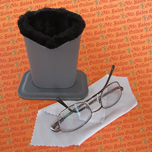 Gray Color Plush Eyeglass Stand Holder with Cleaning Cloth, Protect & - Sale Eyeglass For