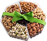 Father's Day Nuts Gift Basket | Extra-Large 7-Sectional Delicious Variety Mixed Nuts Prime Gift | Healthy Fresh Gift Idea For Christmas, Thanksgiving, Mothers & Fathers Day