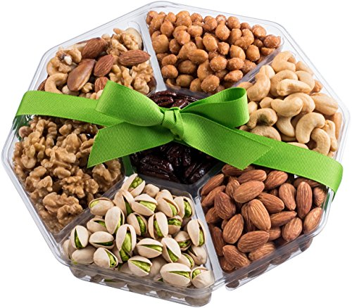 Holiday Nuts Gift Basket | Large 7-Sectional Delicious Variety Mixed Nuts Prime Gift | Healthy Fresh Gift Idea For Christmas, Easter, Mothers & Fathers Day, And Birthday (Birthday Chocolate Fruit Basket)