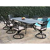 Kawaii Collections Made Of Genuine Cast Aluminum Outdoor Patio Furniture 9  Piece Extension Dining Table With All 8 Swivel Rockers KL09KLSS260112T