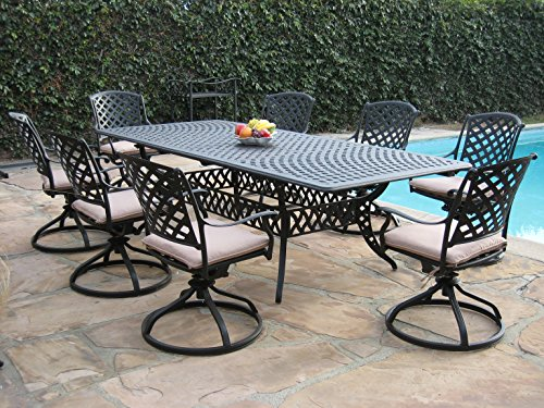 Kawaii Collections Made of genuine cast Aluminum Outdoor Patio Furniture 9 Piece Extension Dining Table with All 8 Swivel Rockers KL09KLSS260112T (Patio Collection)