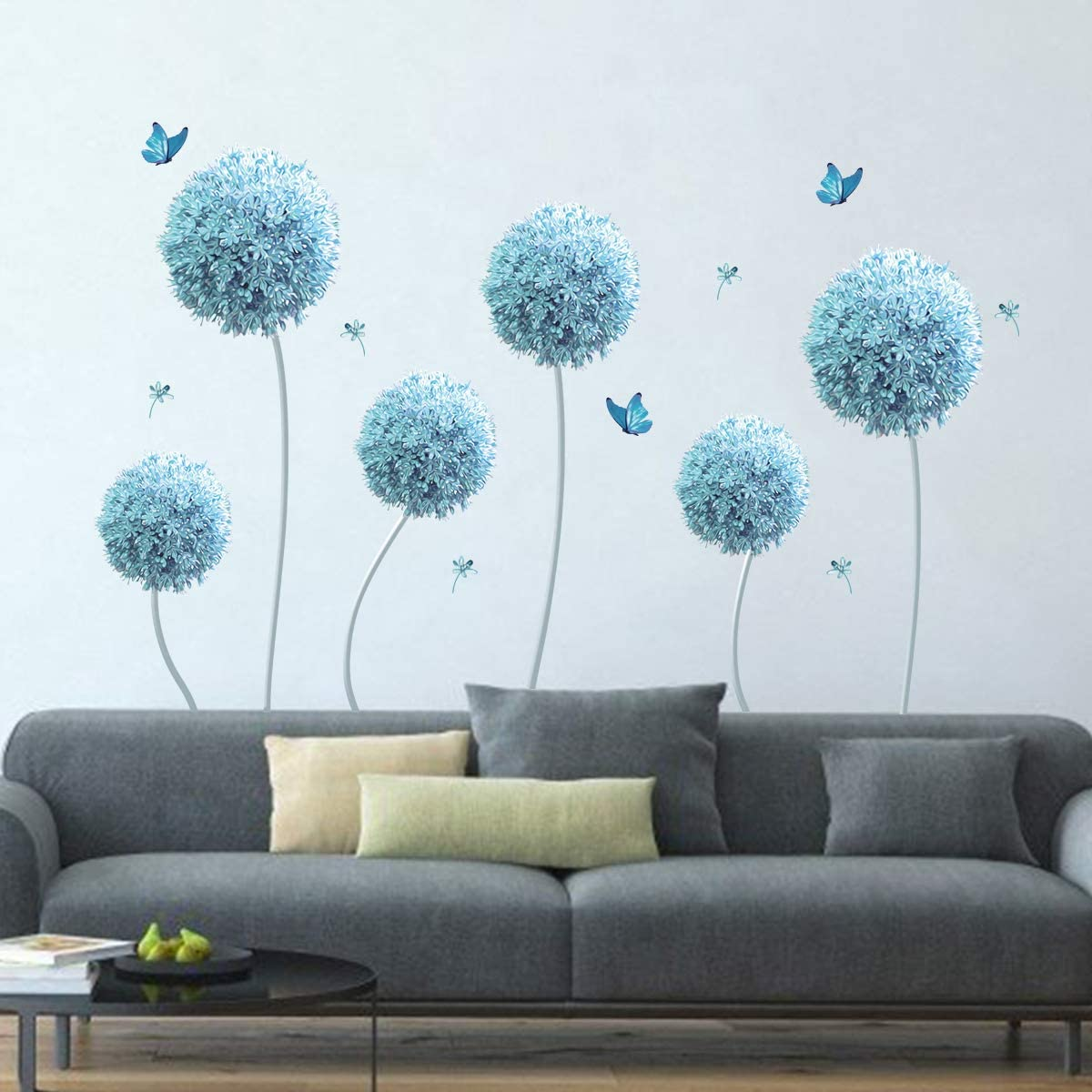 decalmile 6 Blue Dandelion Wall Decals Allium Flower Butterfly Wall Stickers Living Room Bedroom TV Wall Decor(Flower Size: 33 Inches)