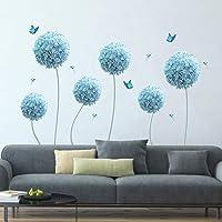 decalmile Pegatinas de Pared Allium Azul Vinilos Decorativos Diente de León Flores Mariposa Adhesivos Pared Infantiles…