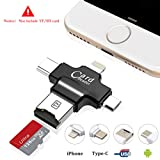 USB Kartenleser, Hizek 4 in 1 USB Kartenlesegerät TF Card Memory Card Reader USB 2.0 Multifunktions USB Connector Unterstützung TF Karten für iphone / Samsung / Huawei / HTC / Nexus / LG / Sony / Win -- Schwarz