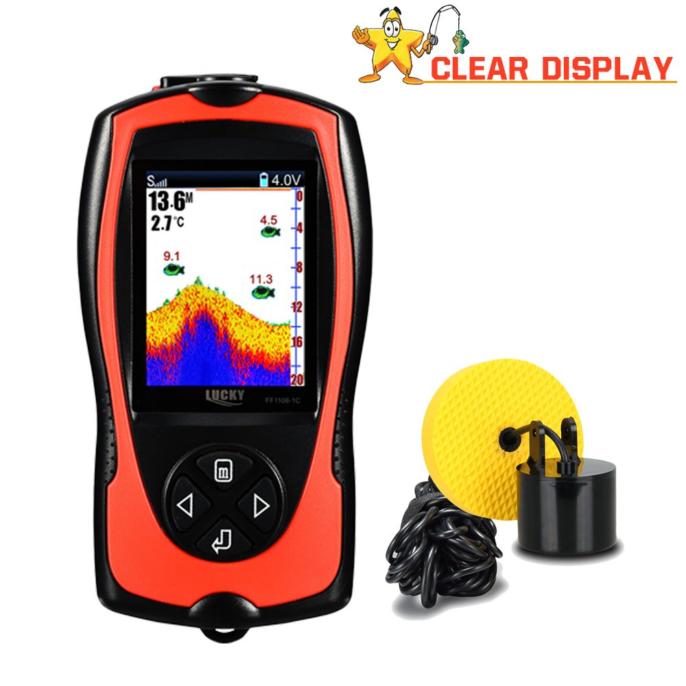 Lucky Portable Fish Finder Wired Sonar Sensor Transducer 328 Feet Water Depth Finder LCD Screen For Kayak Fishing Ice Fishing