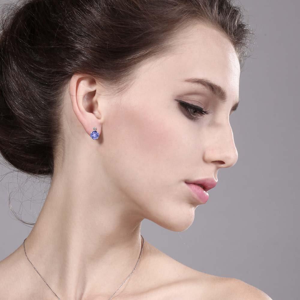 Gem Stone King 1.87 Ct Round Blue Tanzanite and White Diamond 14K White Gold Women s Earrings