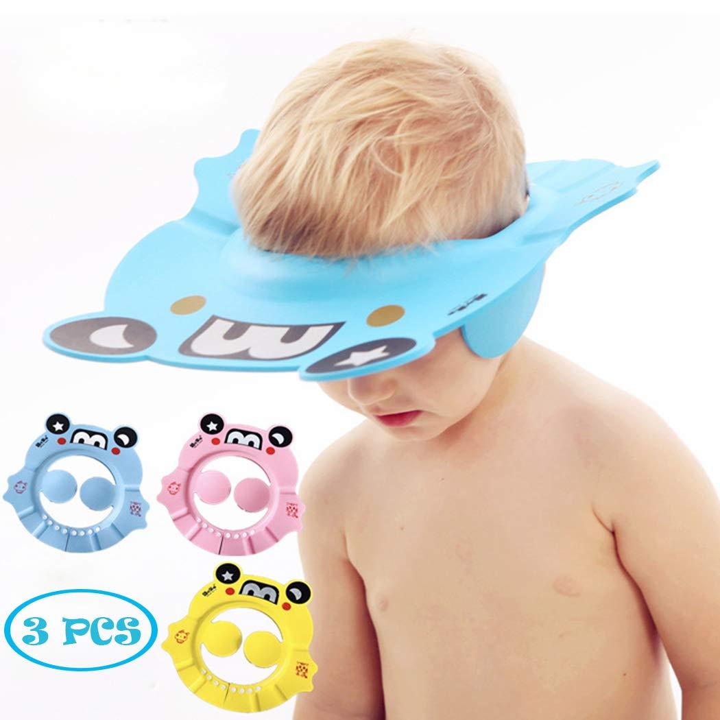 Baby Shampoo Shower Bathing Cap, Adjustable Shower Cap Kids, Infants Soft Protection Funny Safety Visor Cap for Toddler Children (Blue+Pink+Yellow)