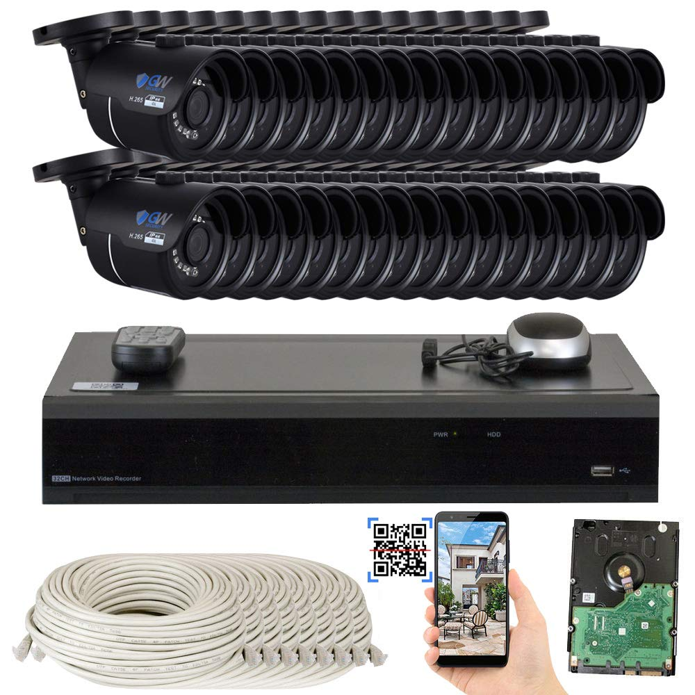 GW 32 Channel H.265 4K NVR 8-Megapixel Security Camera System, 32pcs 8MP PoE 3.6mm Wide Angle Waterproof Bullet 4K IP Cameras, 8TB Hard Drive