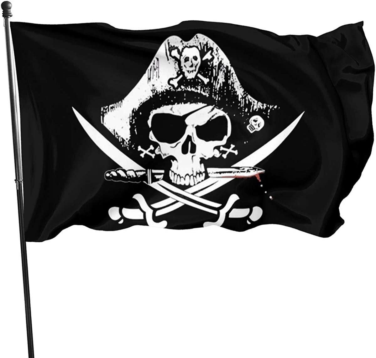 Pirate Jolly Roger Skulls Bones Skeleton Flag Double Sided and Double Stitched Jolly Roger Boat Flags with Brass Grommets, Pirate Party Supplies Halloween 3x5ft