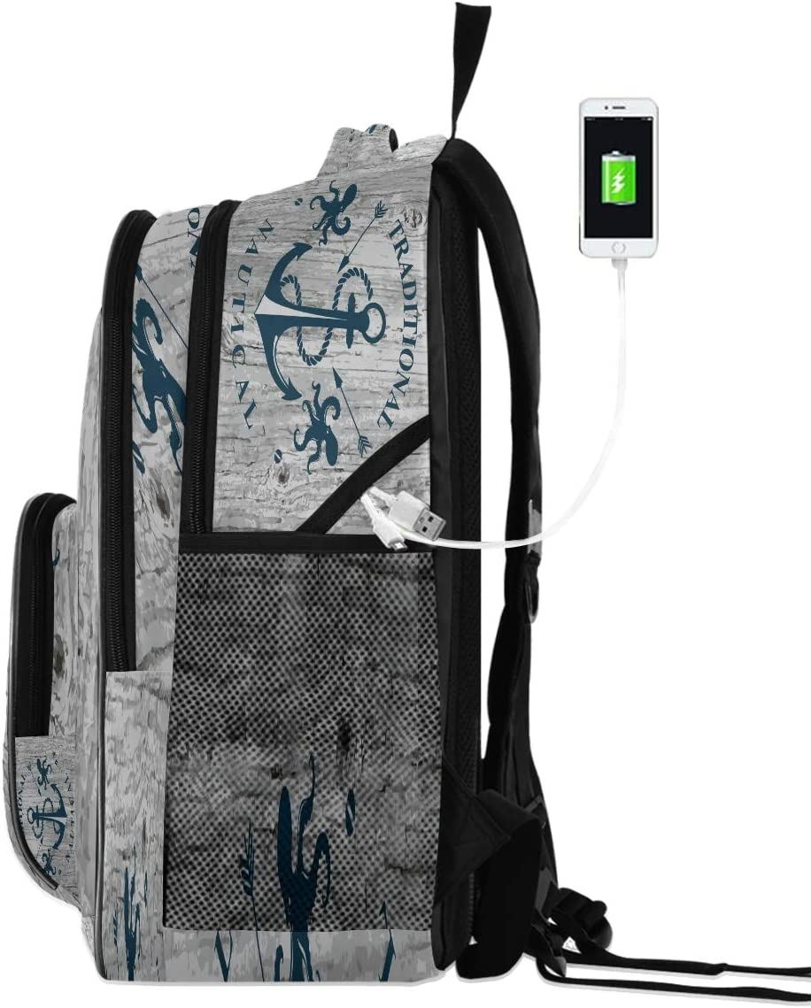 Marine Sailing Anchors Backpack Sea Octopus Bookbags College Students Daypack Three Layer Arc Laptop Backpacks with USB Charging Port School Book Bag for Teens Men Women Kids Boys Girls