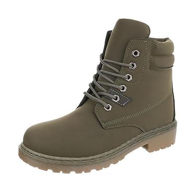 Cingant Woman Damen Boots/Stiefelette/Outdoor Schuhe/Profilsohle/Schnürstiefelette/Beige, EU 37
