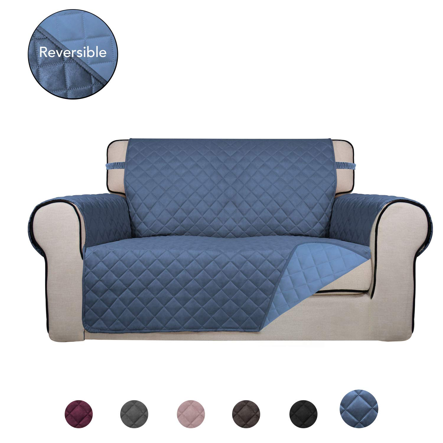 PureFit Reversible Quilted Sofa Cover, Water Resistant Slipcover Furniture Protector, Washable Couch Cover with Anti-Slip Foam and Elastic Straps for Kids, Dogs, Pets (Loveseat, DarkBlue/LightBlue)