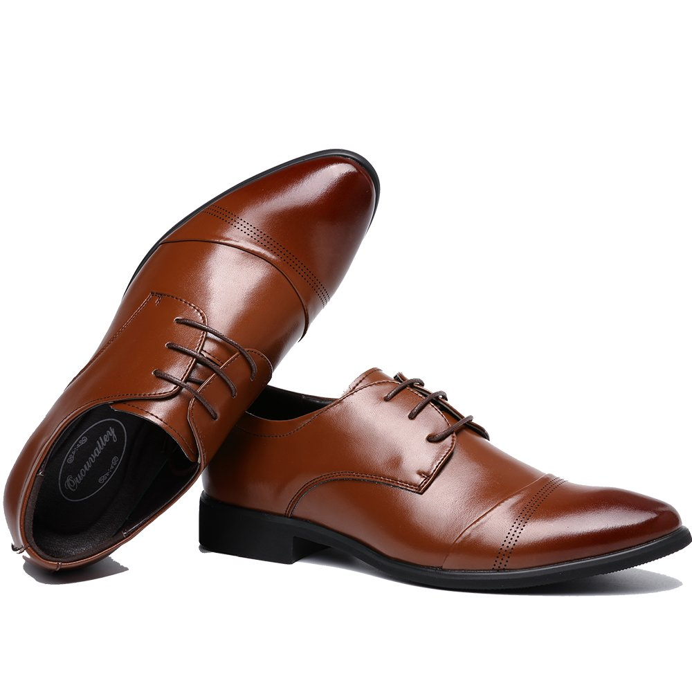 OUOUVALLEY Lace up Patent Leather Oxford Dress Shoes Formal Wedding Shoes 8808 (10 D(M) US, Brown) by OUOUVALLEY (Image #4)