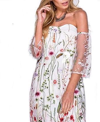 b9f47c0cfa2cb Parisian Women's Embroidered Floral Mesh Off Shoulder Dress