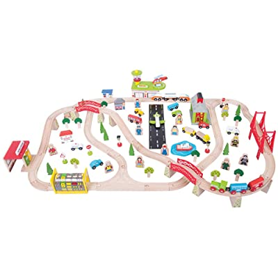 Bigjigs Rail Wooden Transport Train Set - 125 Play Pieces: Toys & Games
