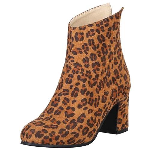 Lydee Mujer Moda Botines Botas Leopardo: Amazon.es: Zapatos y complementos